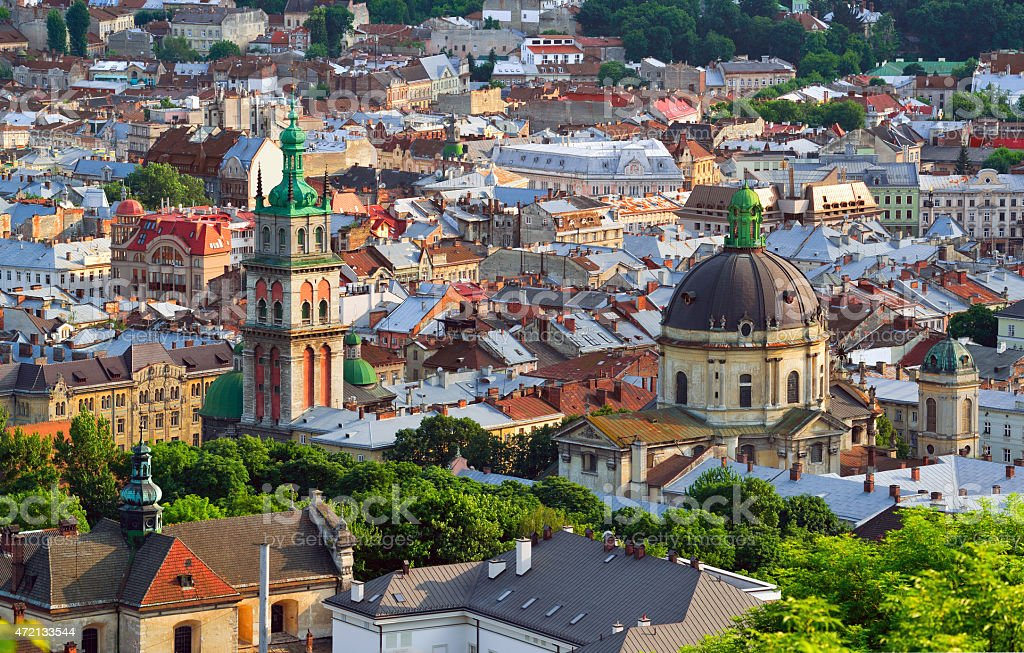 Lviv City in the evening stock photo