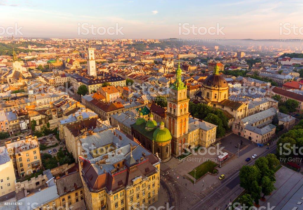 Lviv City, Ukraine. Panorama of the ancient city. stock photo