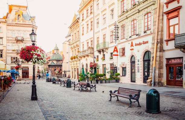 lviv market square - ukraine stock pictures, royalty-free photos & images
