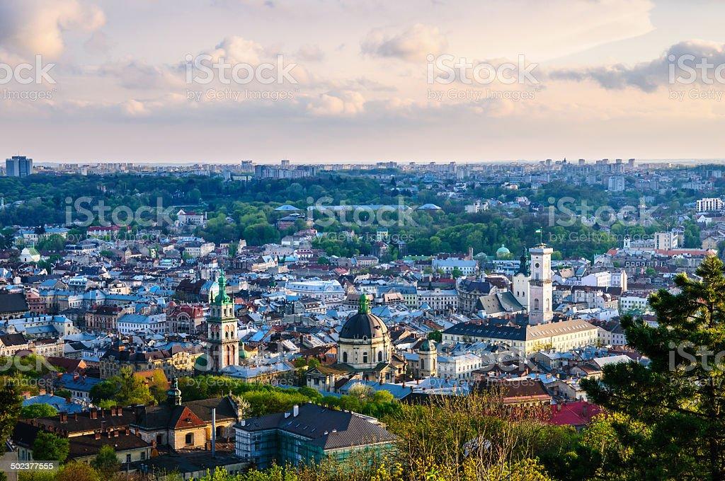 Lviv old city evening view stock photo