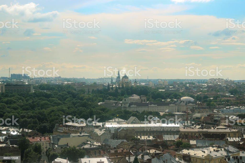 利沃夫全景在日落的時候。 免版稅 stock photo