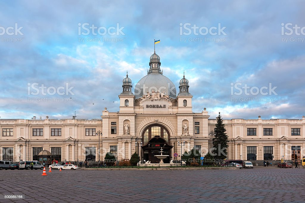 Lviv Railway station stock photo