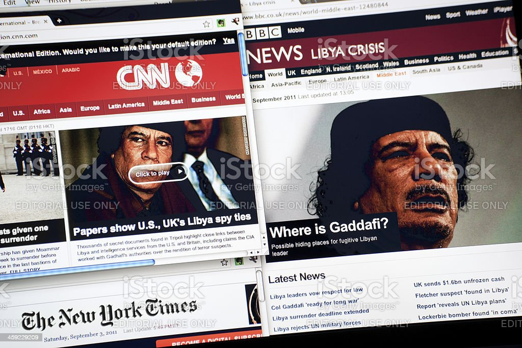 Lybia Crisis on Cnn, BBC and New York Times stock photo