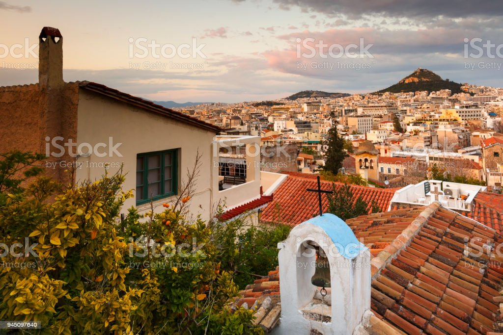 Lycabettus hill in Athens. stock photo