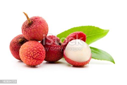 Lychee fruits on white background