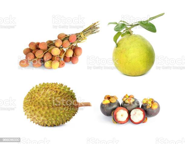 Lychee Pomelo Durian Mangosteen Fruit On White Background Stock Photo - Download Image Now