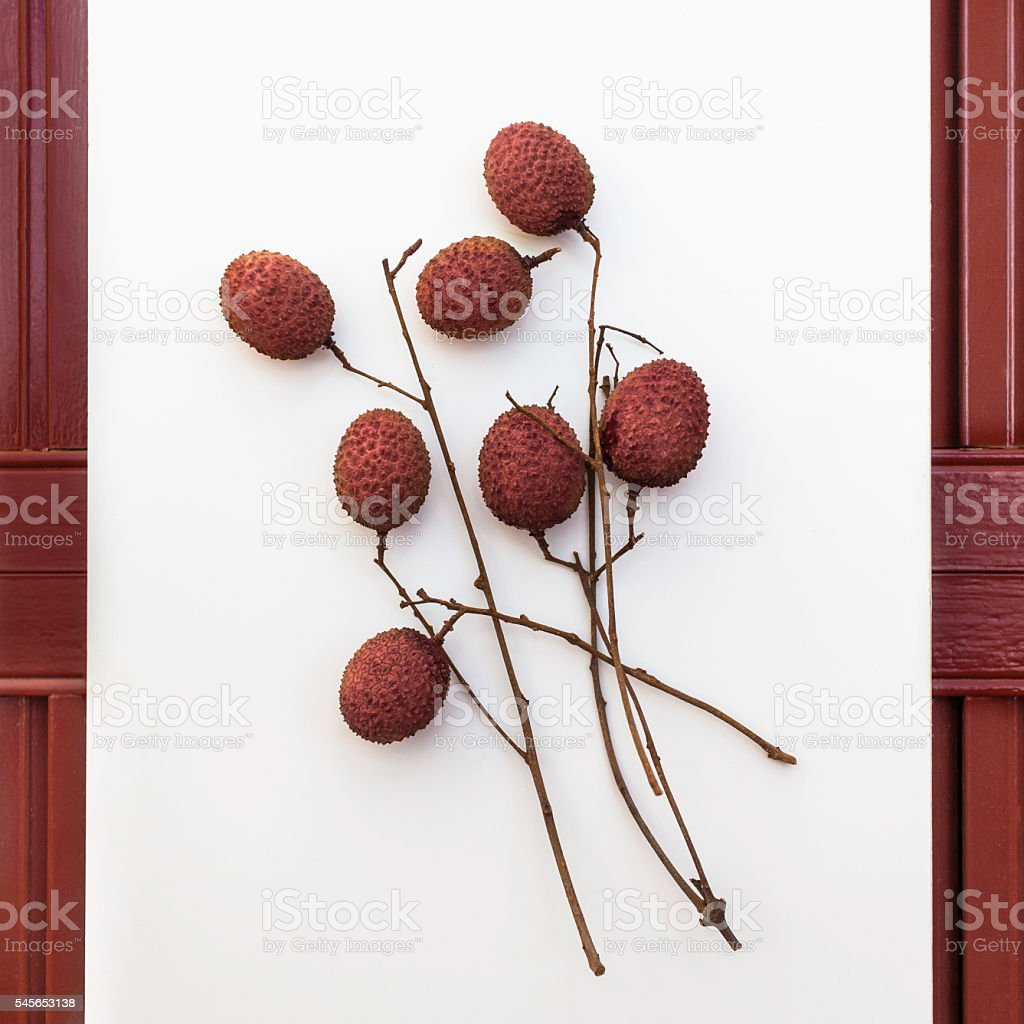 Lychees and Stems - Asian Tropical Fruit stock photo