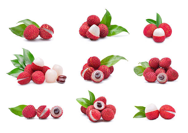 lychees isolated on the white background stock photo