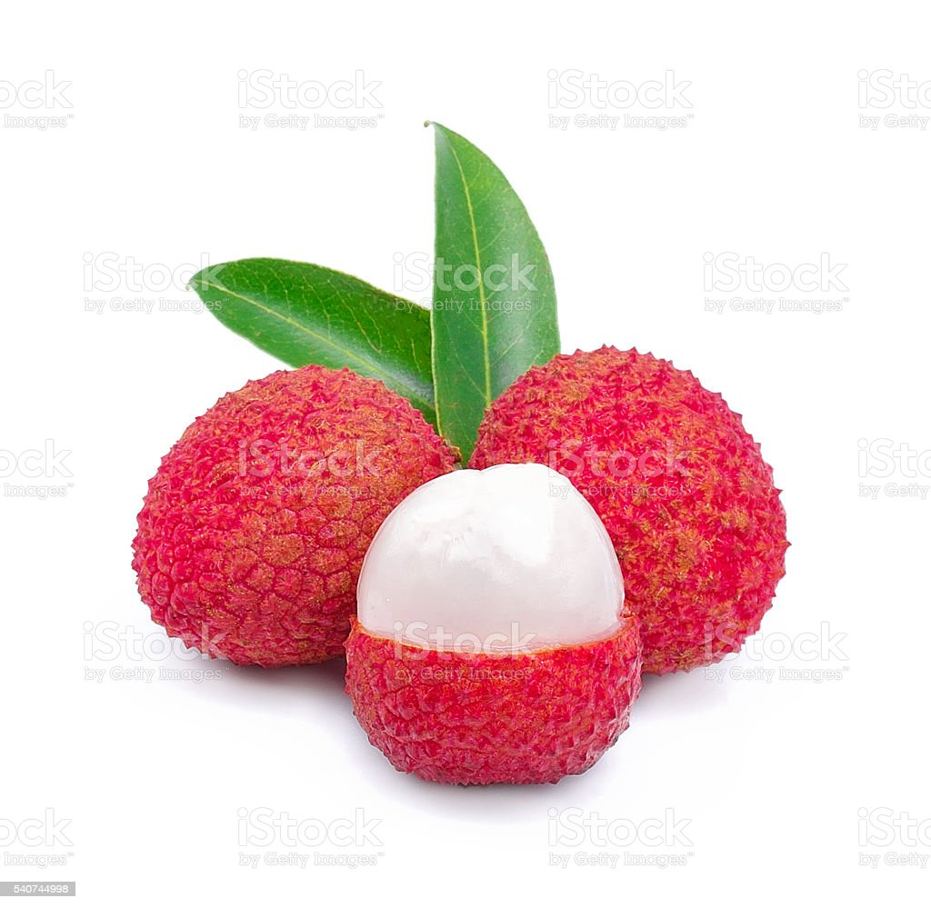 lychees isolated on white stock photo