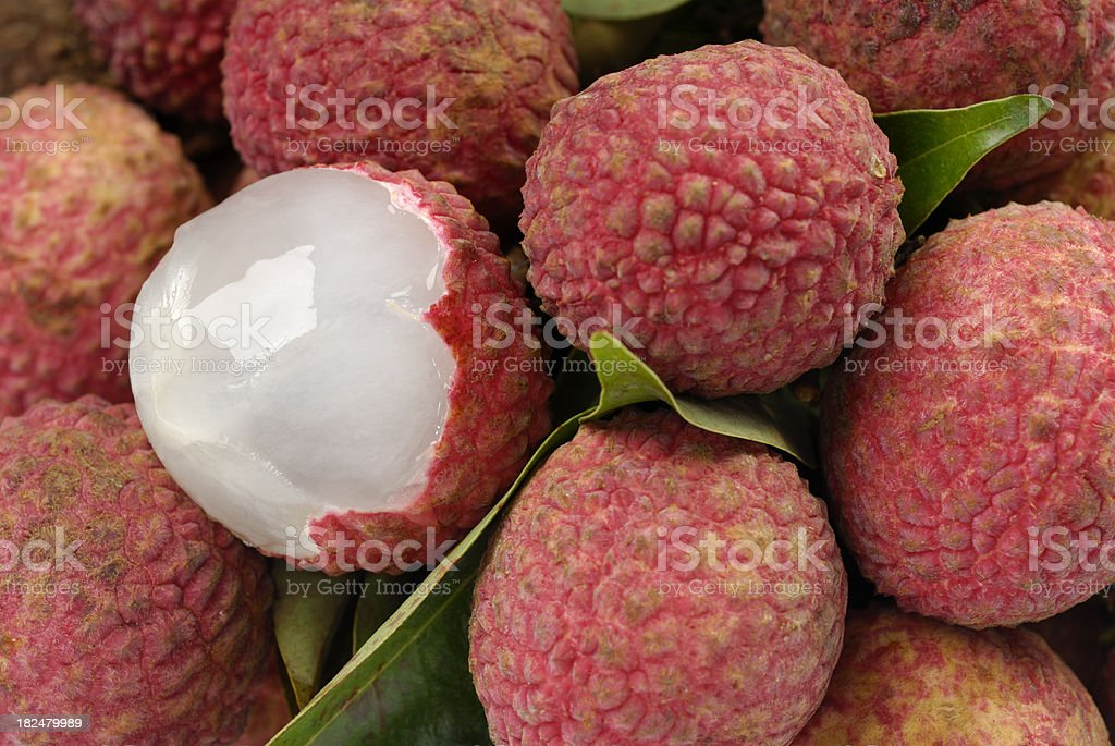 Lychees (Litchi chinensis) stock photo