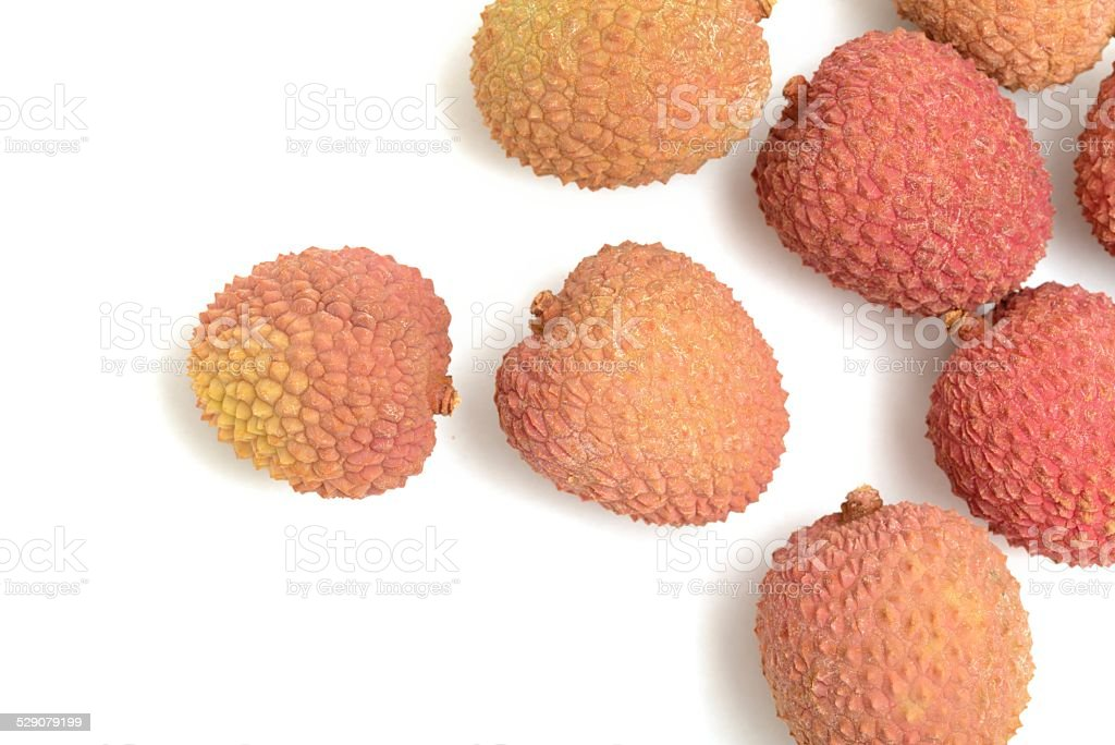 Lychees scattered stock photo