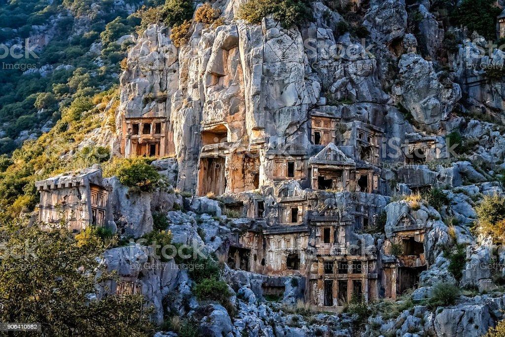 Lycian rock cut tombs in Myra in Turkey stock photo