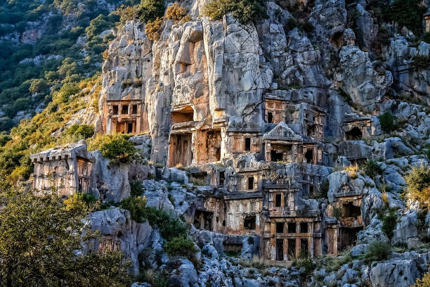 Lycian rock cut tombs in Myra in Turkey stock photo
