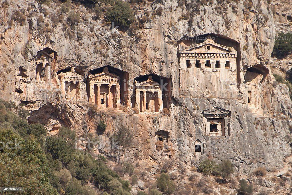Lycian temple tombs near Fethiye, Turkey, on the Aegean Sea stock photo