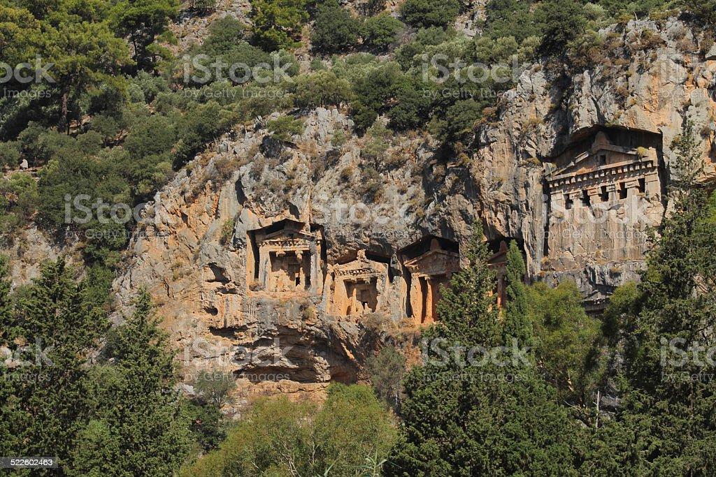 Lycian tombs in Dalyan stock photo