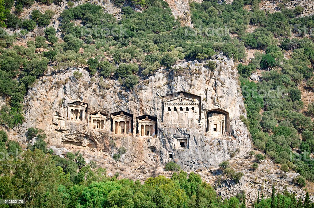 Lycian tombs in the rocks stock photo