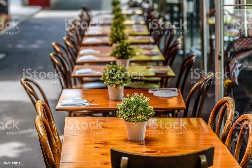 Lygon Street Restaurant Tables stock photo
