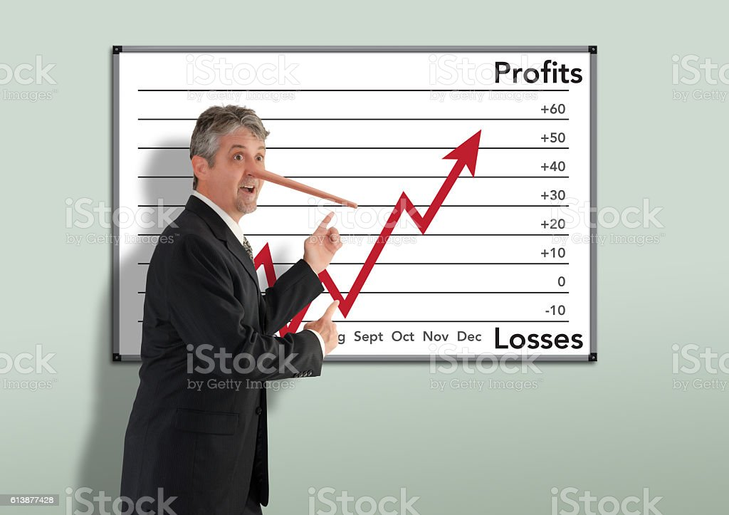 Lying dishonest businessman stockbroker w growing Pinocchio nose stock photo