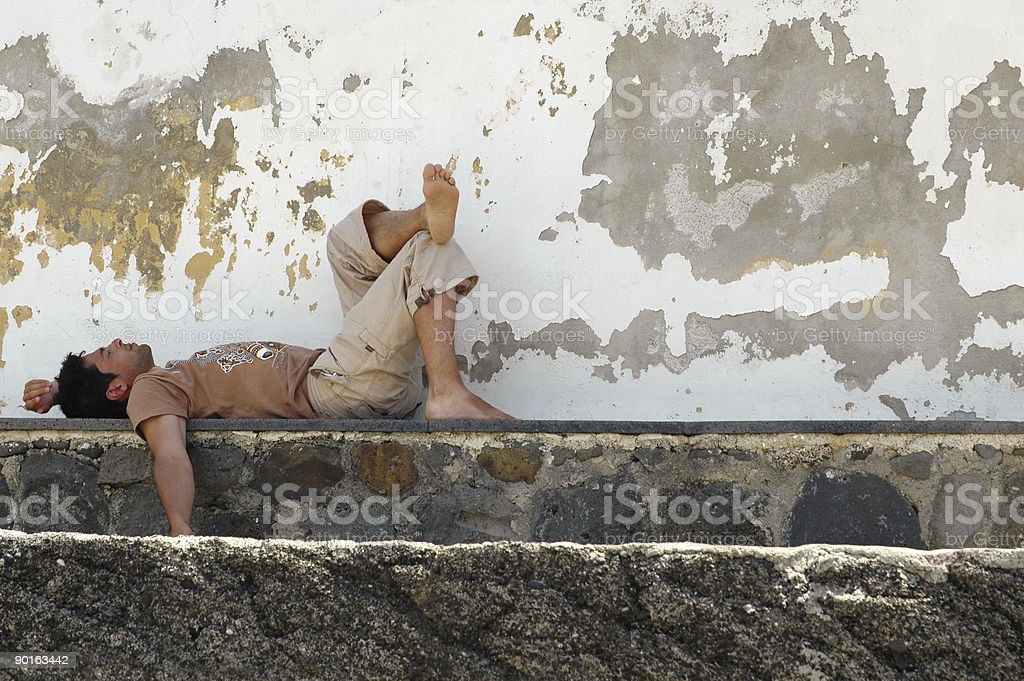 Lying down man royalty-free stock photo