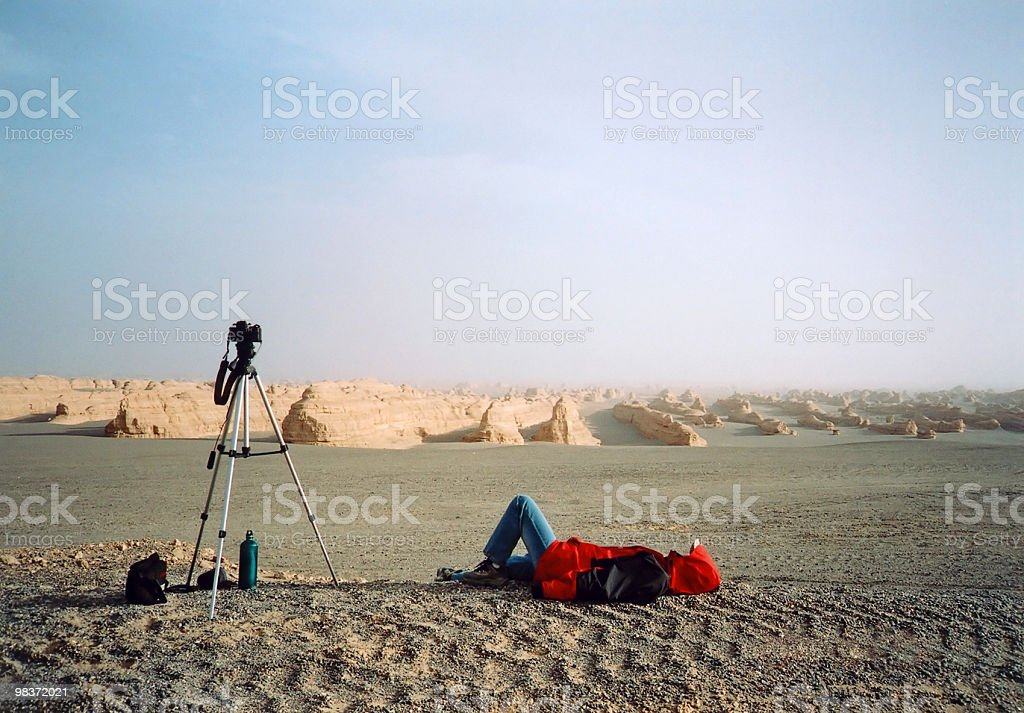 lying in desert royalty-free stock photo