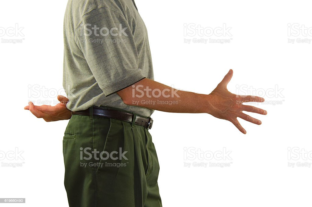 Lying  man shaking hands with crossed fingers stock photo