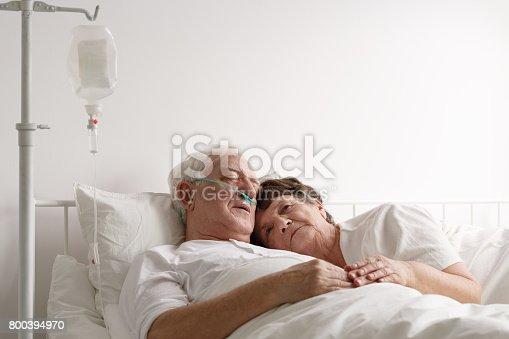 909569706istockphoto Lying next to sick husband 800394970