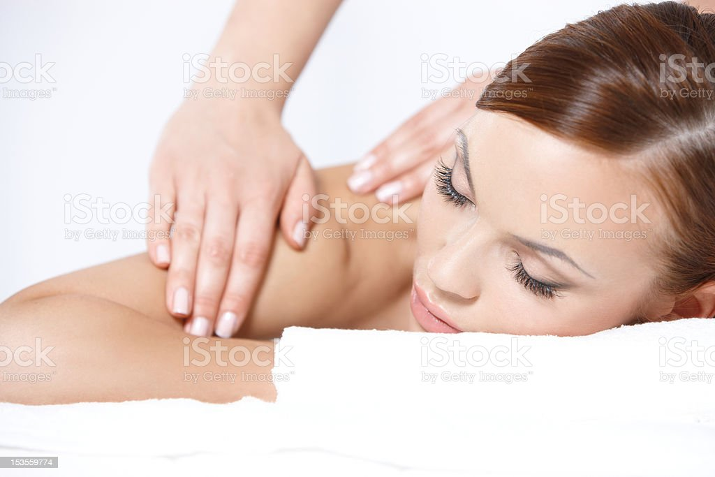 Lying on spa bed royalty-free stock photo
