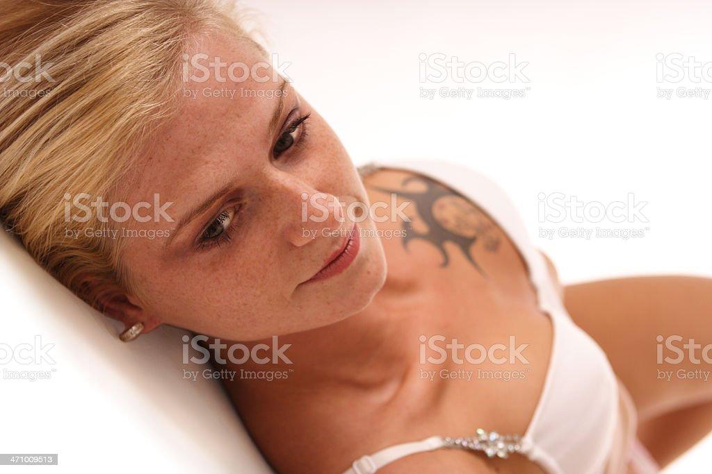 lying on white stock photo