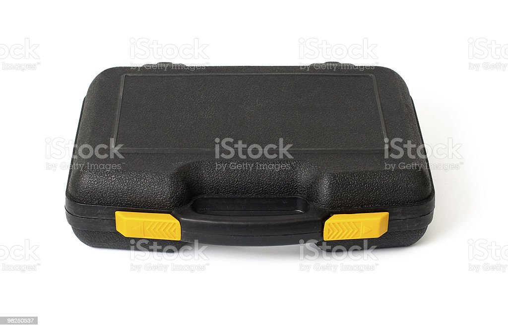 Lying plastic black case with tools isolated on white royalty-free stock photo