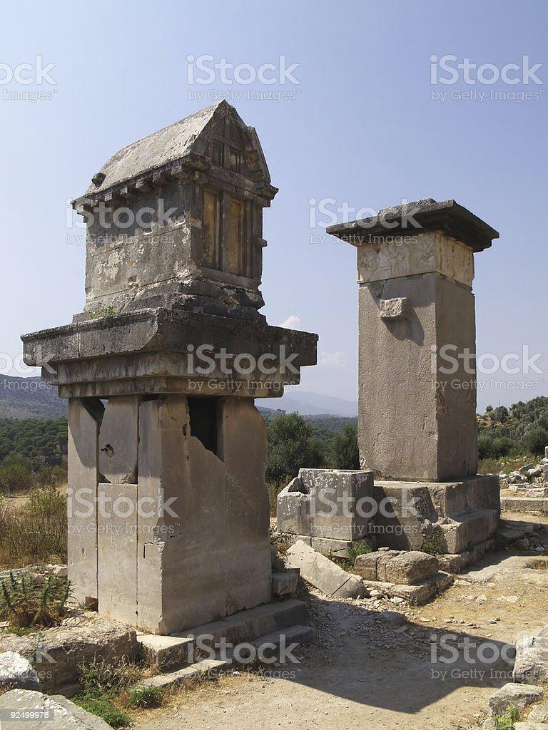 Lykian Pillar-Gräber, antike Xanthos, Türkei Lizenzfreies stock-foto