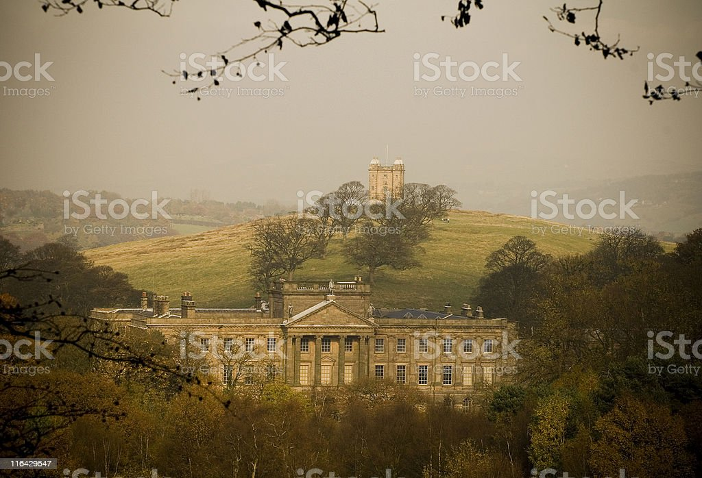 Lyme Hall and Cage view stock photo