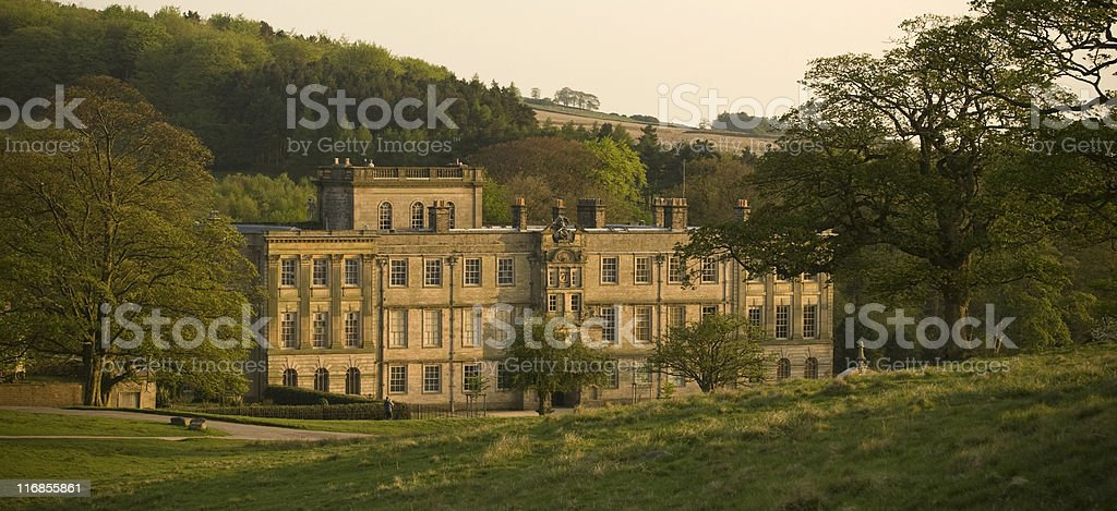 Lyme hall at sunset stock photo