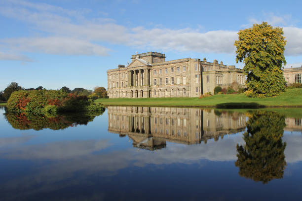 lyme park, peak district national park, midlands, england, united kingdom - stately home stock photos and pictures