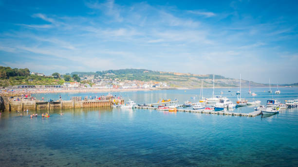 lyme regis bay on jurassic coast in the uk - weymouth stock photos and pictures
