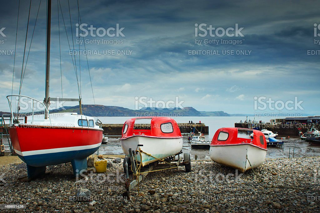 Lyme Regis harbour stock photo