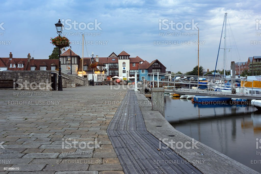Lymington Quay and harbour stock photo