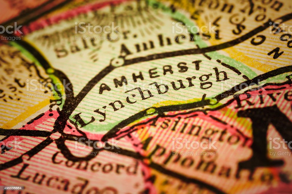 Lynchburg | Virginia on an Antique map stock photo