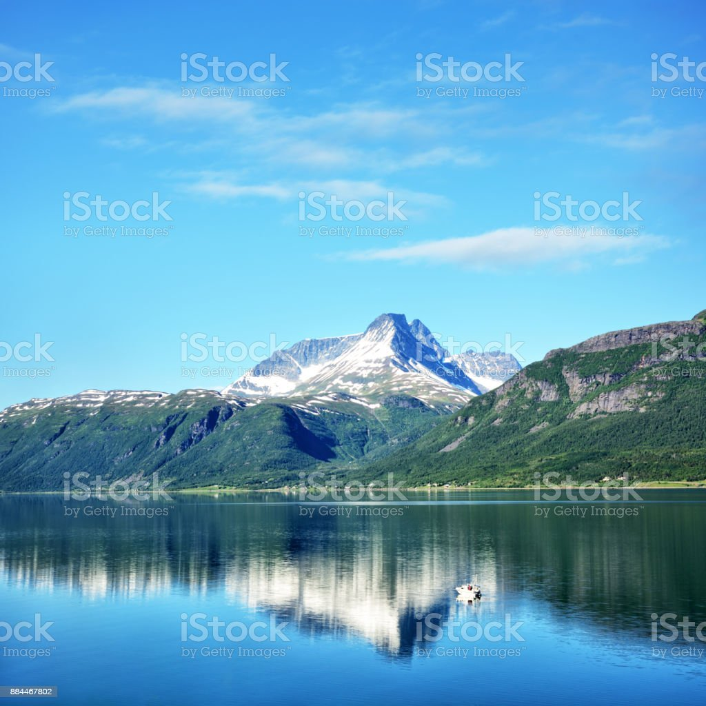 Lyngen fjord, Norway stock photo