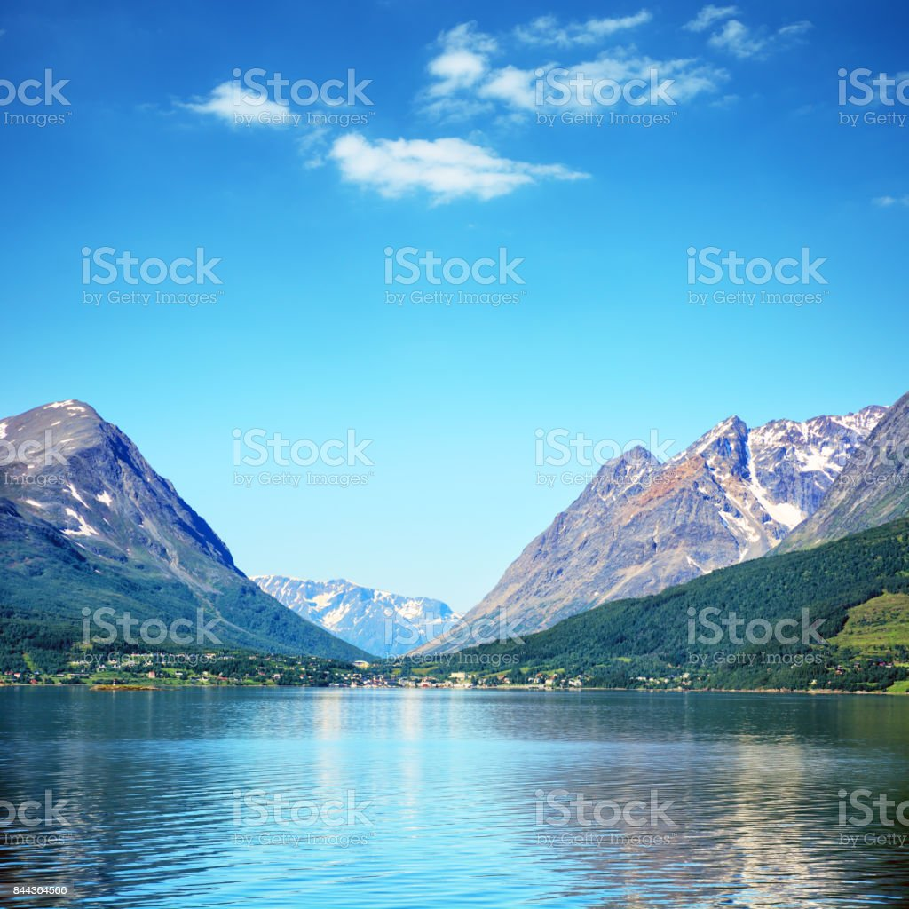 Lyngseidet Village, Norway stock photo
