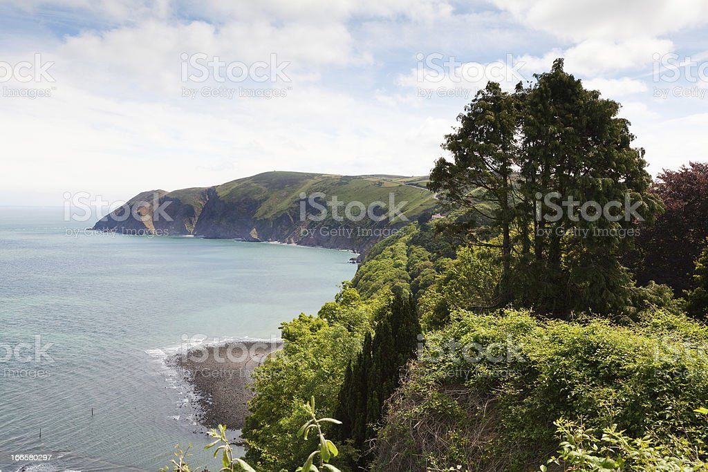 Lynmouth with Foreland Point  North Devon England royalty-free stock photo