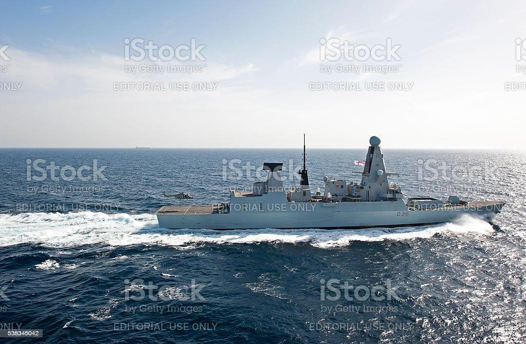 Lynx to land on Type 45 Destroyer, Arabian Sea stock photo