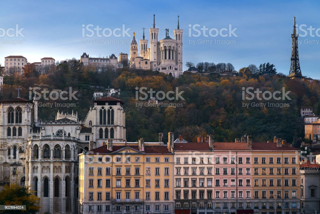 Lyon and fourviere hill stock photo