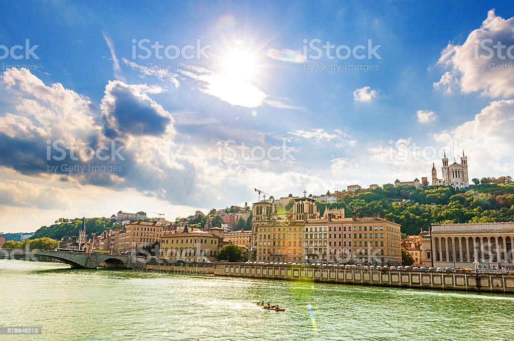 Lyon and river Loire in France on sunny summer day stock photo