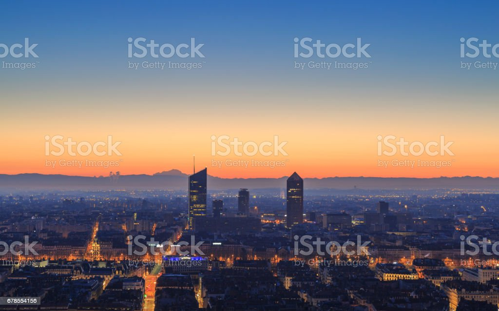 Lyon before dawn stock photo