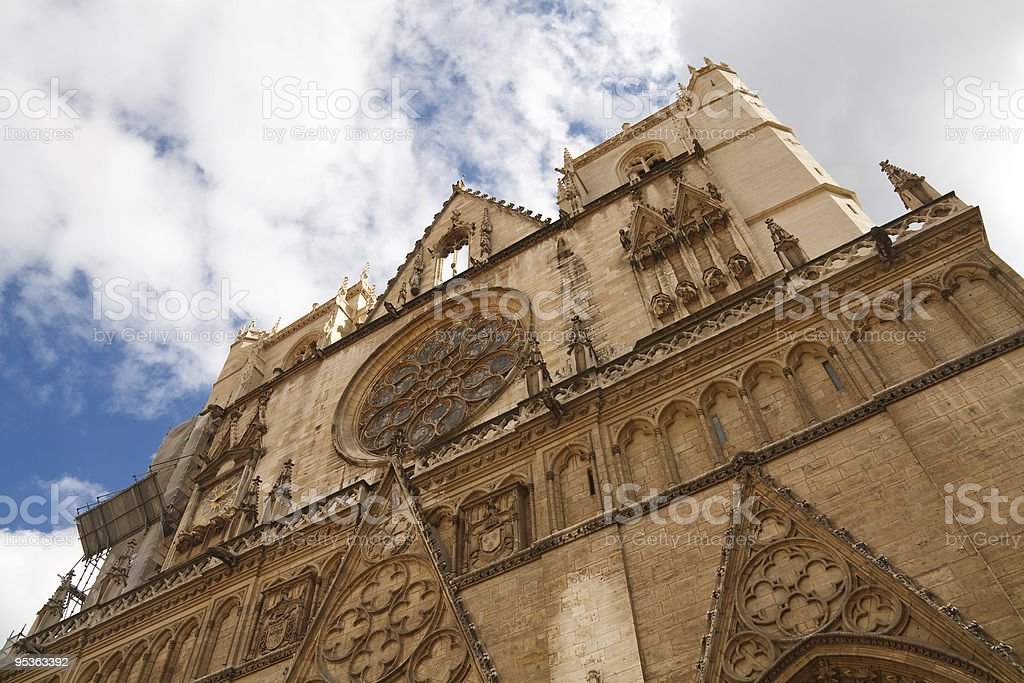 Lyon Cathedral (Cathedrale Saint-Jean-Baptiste), France royalty-free stock photo
