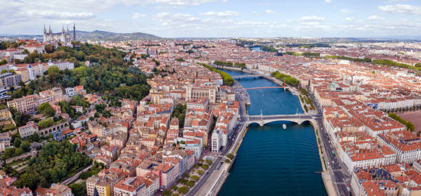 Lyon city aerial panoramic view, France stock photo