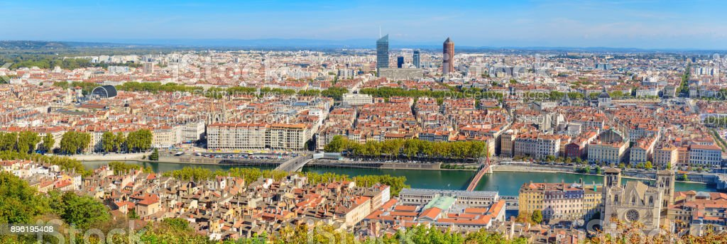 Lyon city panorama from above stock photo