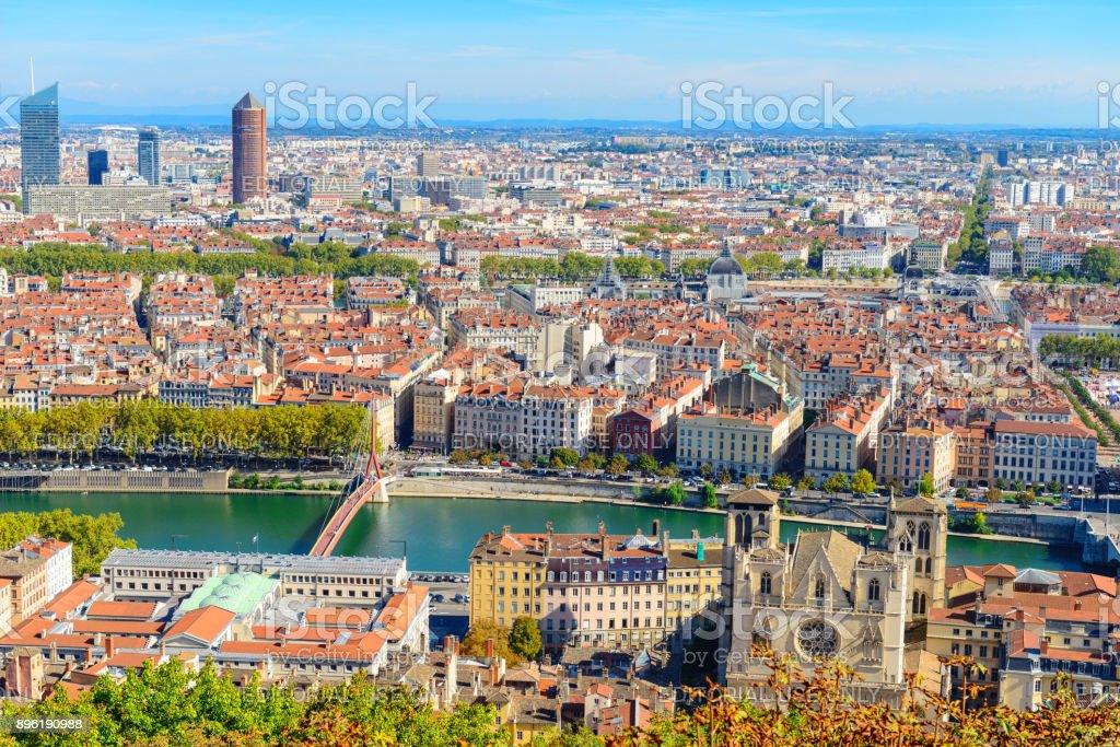 Lyon cityscape from above with Rhone River stock photo