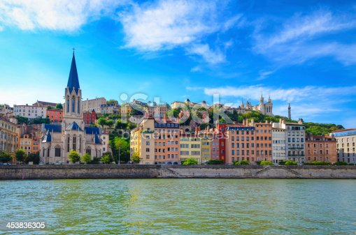 Lyon cityscape from Saone river with colorful houses and river, France