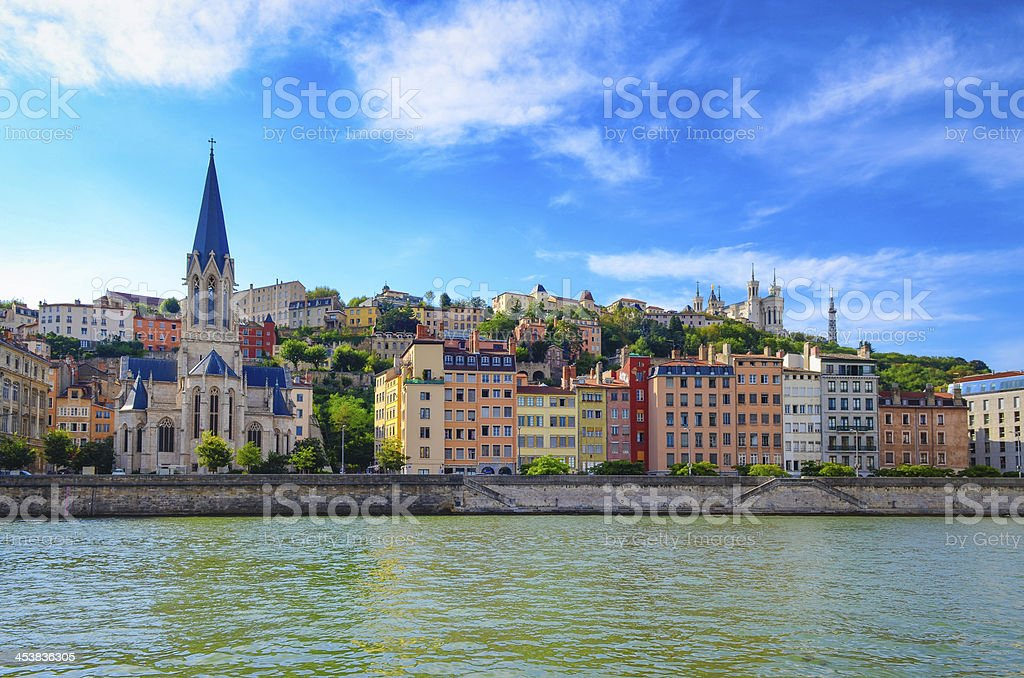 Lyon cityscape from Saone river with colorful houses stock photo